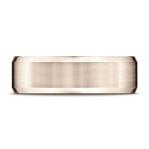 14k Rose Gold 7mm Comfort-fit Satin-finished With High Polished Beveled Edge Carved Design Band