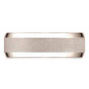 14 Karat Rose Gold 7mm Comfort-fit High Polish Round Edge Cross Hatch Center Design Band