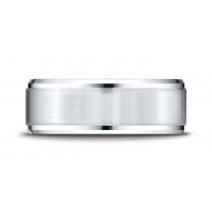 Platinum 8mm Comfort-fit Satin-finished Drop Beveled Edge Carved Design Band