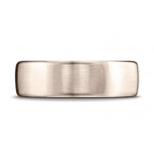 14k Rose Gold 7.5mm Comfort-fit Satin Finish Design Band