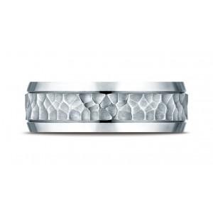 Platinum 7.5mm Comfort Fit Hammered Finish Beveled Edge Design Band