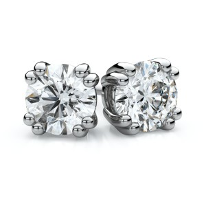 Igi Certified Platinum Double Prong Round Diamond Stud Earrings 3/4ctw (4.7mm Ea), H-i Color, Si Clarity