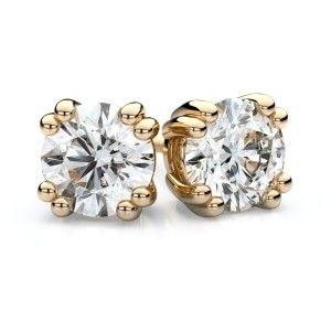 Igi Certified 14k Yellow Gold Double Prong Round Diamond Stud Earrings 1ctw (5.2mm Ea), J-k Color, Si Clarity