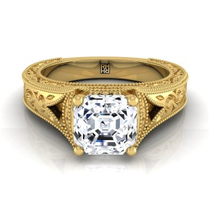 Antique Inspired Engraved Diamond Engagement Ring With Millgrain Finish In 18k Yellow Gold