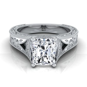 Radiant Cut Antique Inspired Engraved Diamond Engagement Ring With Millgrain Finish In 14k White Gold