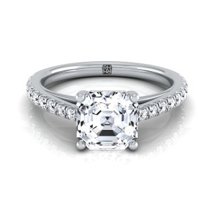 Classic 4 Prong Asscher Cut Diamond Engagement Ring In 14k White Gold (1/4 Ct.tw.)