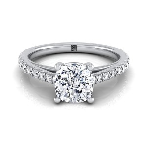 Classic 4 Prong Cushion Cut Diamond Engagement Ring In 14k White Gold (1/4 Ct.tw.)