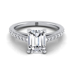 Classic 4 Prong Emerald Cut Diamond Engagement Ring In 14k White Gold (1/4 Ct.tw.)