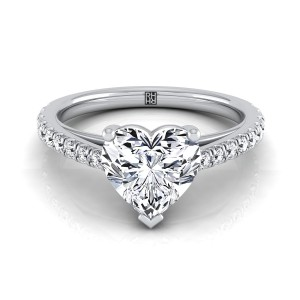 Classic Heart Shape Diamond Engagement Ring In 14k White Gold (1/4 Ct.tw.)