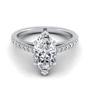 Classic Marquise Diamond Engagement Ring In 14k White Gold (1/4 Ct.tw.)