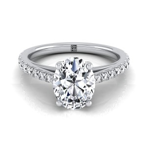 Classic 4 Prong Oval Diamond Engagement Ring In 14k White Gold (1/4 Ct.tw.)