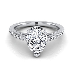 Classic Pear Shape Diamond Engagement Ring In 14k White Gold (1/4 Ct.tw.)