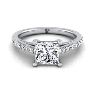 Classic 4 Prong Princess Cut Diamond Engagement Ring In 18k White Gold (1/4 Ct.tw.)