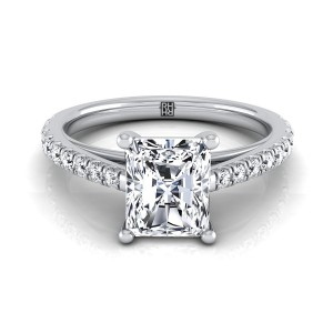 Classic 4 Prong Radiant Cut Diamond Engagement Ring In 14k White Gold (1/4 Ct.tw.)