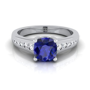 Cushion Cut Sapphire Engagement Ring With Diamond Tapered Channel Shank In 14k White Gold (1/6 Ct.tw.)