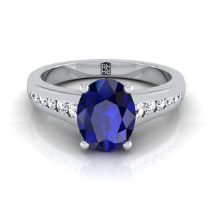 Oval Sapphire Engagement Ring With Diamond Tapered Channel Shank In 14k White Gold (1/6 Ct.tw.)