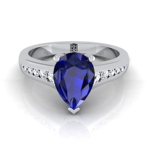 Pear Shape Sapphire Engagement Ring With Diamond Tapered Channel Shank In 14k White Gold (1/6 Ct.tw.)