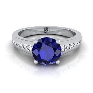 Sapphire Engagement Ring With Diamond Tapered Channel Shank In 14k White Gold (1/6 Ct.tw.)