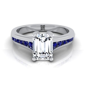 Emerald Cut Diamond Engagement Ring With Sapphire Channel Set Shank In 14k White Gold