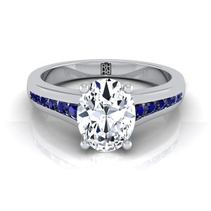 Oval Diamond Engagement Ring With Sapphire Channel Set Shank In 14k White Gold