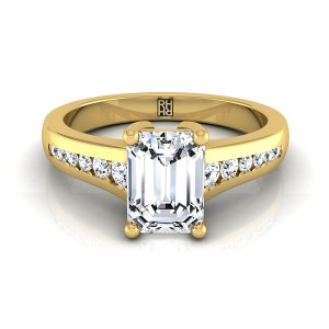 Emerald Cut Channel Diamond Engagement Ring In 18k Yellow Gold (1/6 Ct.tw.)