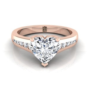 Heart Shape Channel Diamond Engagement Ring In 14k Rose Gold (1/6 Ct.tw.)
