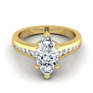 Marquise Channel Diamond Engagement Ring In 18k Yellow Gold (1/6 Ct.tw.)