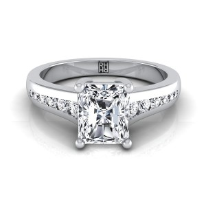 Radiant Cut Channel Diamond Engagement Ring In 14k White Gold (1/6 Ct.tw.)