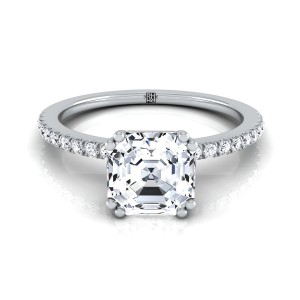 Classic Petite Split Prong  Asscher Diamond Engagement Ring In 14k White Gold (1/6 Ct.tw.)