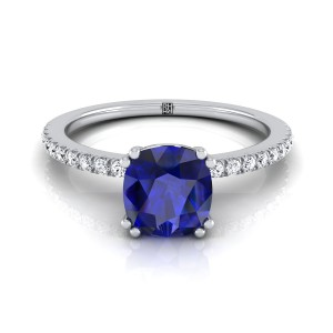 Cushion Cut Sapphire Engagement Ring With Diamond Set  Petite Shank In 14k White Gold (1/6 Ct.tw.)