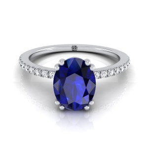 Oval Sapphire Engagement Ring With Diamond Set  Petite Shank In 14k White Gold (1/6 Ct.tw.)