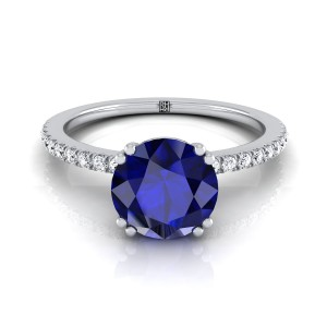 Round Sapphire Engagement Ring With Diamond Set  Petite Shank In 14k White Gold (1/6 Ct.tw.)