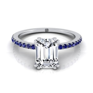 Classic Petite Split Prong Emerald Cut Diamond Engagement Ring With Sapphire Shank In 14k White Gold