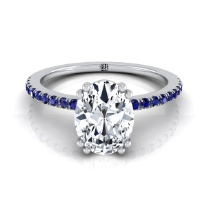 Classic Petite Split Prong Oval Diamond Engagement Ring With Sapphire Shank In 14k White Gold