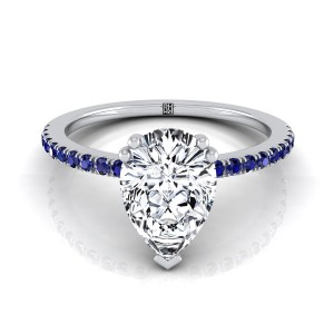 Classic Petite Split Prong Pear Shape Diamond Engagement Ring With Sapphire Shank In 14k White Gold