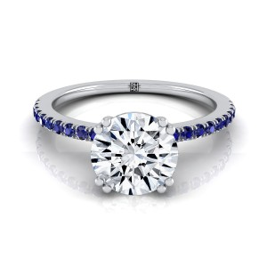 Classic Petite Split Prong Diamond Engagement Ring With Sapphire Shank In 14k White Gold