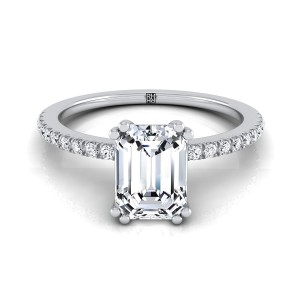 Classic Petite Split Prong Emerald Cut Diamond Engagement Ring In 14k White Gold (1/6 Ct.tw.)
