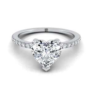 Classic Petite Split Prong Heart Shape Diamond Engagement Ring In 14k White Gold (1/6 Ct.tw.)