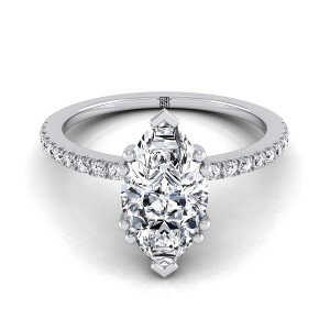 Classic Petite Split Prong Marquise Diamond Engagement Ring In 14k White Gold (1/6 Ct.tw.)