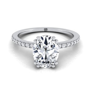 Classic Petite Split Prong Oval Diamond Engagement Ring In 14k White Gold (1/6 Ct.tw.)