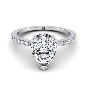 Classic Petite Split Prong Pear Shape Diamond Engagement Ring In 14k White Gold (1/6 Ct.tw.)