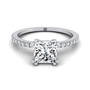 Classic Petite Split Prong Princess Cut Diamond Engagement Ring In 14k White Gold (1/6 Ct.tw.)