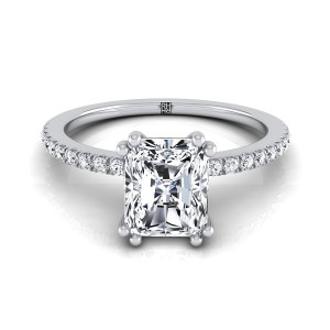 Classic Petite Split Prong Radiant  Cut Diamond Engagement Ring In 14k White Gold (1/6 Ct.tw.)