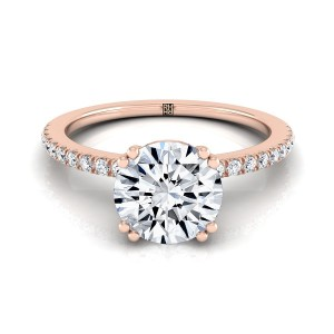 Classic Petite Split Prong  Diamond Engagement Ring In 14k Rose  Gold (1/6 Ct.tw.)