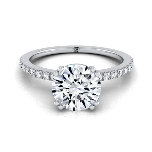 Classic Petite Split Prong  Diamond Engagement Ring In 14k White Gold (1/6 Ct.tw.)
