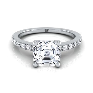 Classic Petite Split Prong Asscher Cut  Diamond Engagement Ring In 14k White Gold (1/5 Ct.tw.)