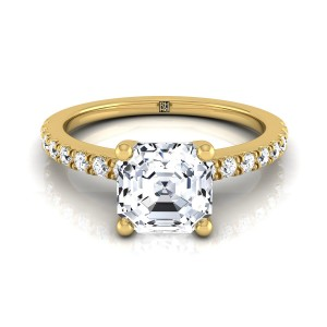 Classic Petite Split Prong Asscher Cut  Diamond Engagement Ring In 18k Yellow Gold (1/5 Ct.tw.)