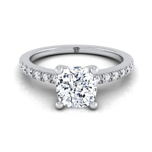 Classic Petite Split Prong Cushion Cut Diamond Engagement Ring In 14k White Gold (1/5 Ct.tw.)