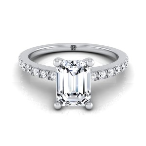 Classic Petite Split Prong Emerald Cut Diamond Engagement Ring In 14k White Gold (1/5 Ct.tw.)