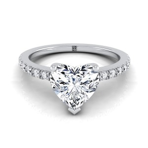 Classic Petite Split Prong Heart Shape  Diamond Engagement Ring In 14k White Gold (1/5 Ct.tw.)